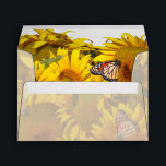 """Butterfly Flowers Floral Wildlife Animals Garden Envelope<br><div class=""""desc"""">Gorgeous  Sunflower Flowers in a field with Monarch Butterflies  is on this Envelope. On the inside it has no overlay to dull the image. The outside has the overlay for writing and address purposes.</div>"""