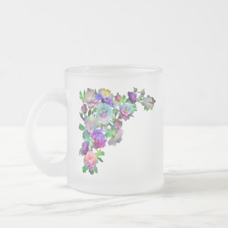 Butterfly Flowers Frosted Glass Coffee Mug