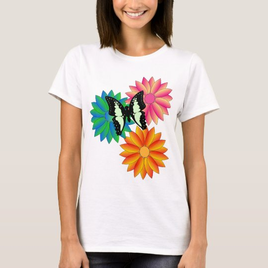 Butterfly Flowers Ladies T-Shirt