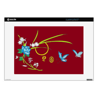 butterfly flowers moon laptop decal
