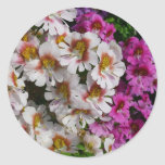 Butterfly Flowers Pink White and Purple Floral Classic Round Sticker
