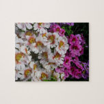 Butterfly Flowers Pink White and Purple Floral Jigsaw Puzzle