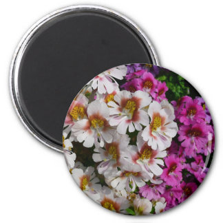 Butterfly Flowers Pink White and Purple Floral Magnet