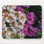 Butterfly Flowers Pink White and Purple Floral Mouse Pad