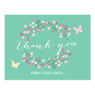 Butterfly & Flowers Spring Wedding Thank You Postcard