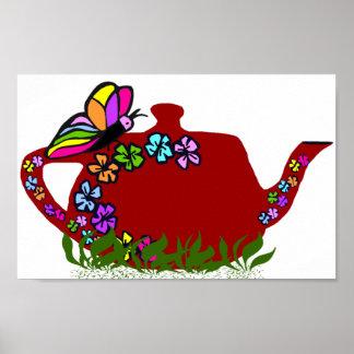 Butterfly flowers tea pot poster