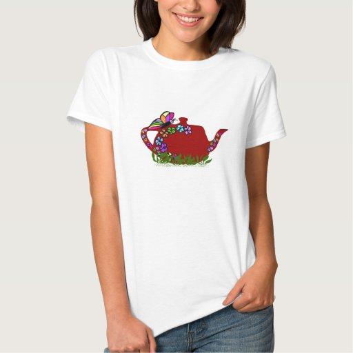 Butterfly flowers tea pot shirt