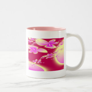 Butterfly Flowers Two-Tone Coffee Mug