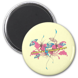 Butterfly Flute 2 Inch Round Magnet
