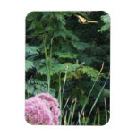 Butterfly Flying Above Pink Flowers Flexible Magnets