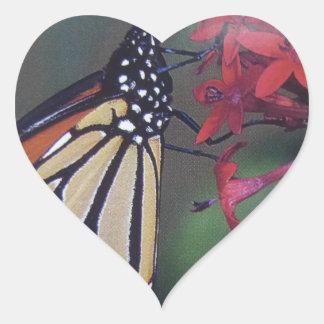 butterfly flying around red flower heart sticker