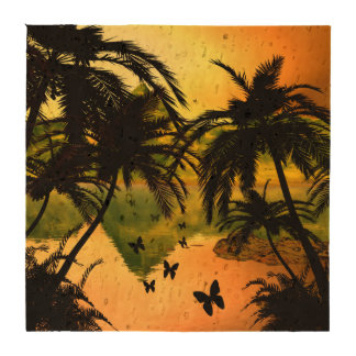Butterfly flying in the sunset coasters