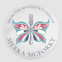 Butterfly fork Christmas homemade by sticker