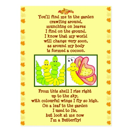 Butterfly form catterpillar poem post card
