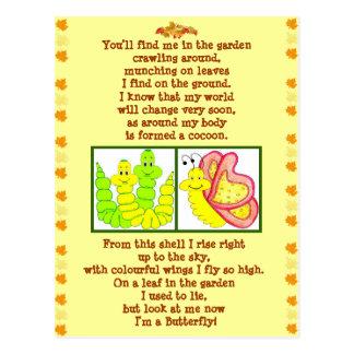 Butterfly form catterpillar poem post card