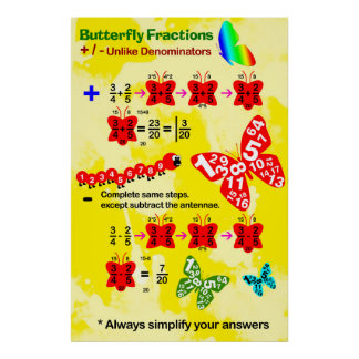 Butterfly Fraction: Adding & Subtracting Fractions Poster