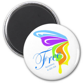 Butterfly Free 2 Inch Round Magnet