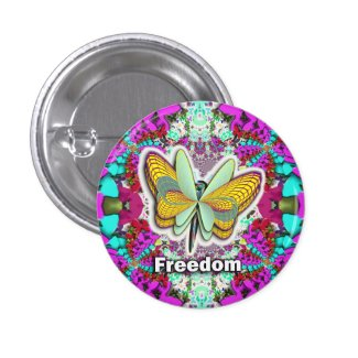 Butterfly Freedom purple64ets 1 Inch Round Button