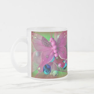 Butterfly Frosted Glass Coffee Mug