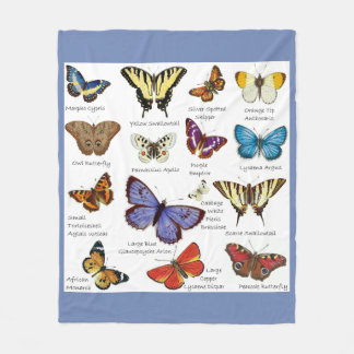 Butterfly Full Color Illustrations popular types Fleece Blanket
