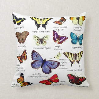 Butterfly Full Color Illustrations popular types Throw Pillow