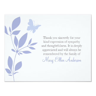 Butterfly Funeral Note Card Flat Bereavement Note