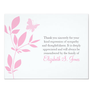 Butterfly Funeral Thank You Note Card Pink