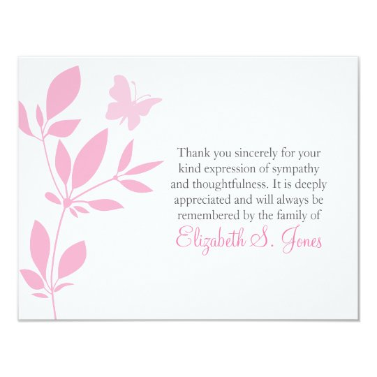 butterfly funeral thank you note card pink zazzle com