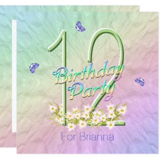 Butterfly Garden 12th Birthday Party Invitation