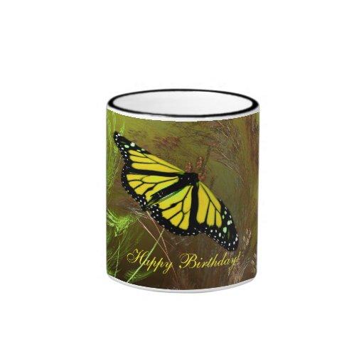 Butterfly Garden 2, Happy Birthday! Ringer Mug