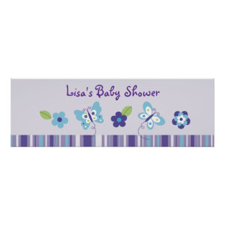 Butterfly Garden Baby Shower Banner Poster