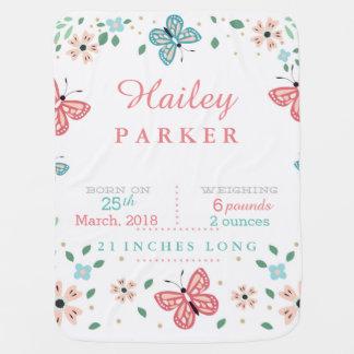 Butterfly Garden Birth Announcement Baby Blanket