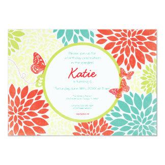 "Butterfly Garden Birthday Invitation 5"" X 7"" Invitation Card"