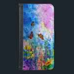 "Butterfly Garden Cell Phone Wallet<br><div class=""desc"">My original water color painting printed on a Cell Phone Wallet,  (select your choice: Samsung Galaxy 4s/5s/6s or iPhone 5/5s/6/6s/Plus),  featuring monarch butterflies fluttering around cone flowers,  purple heather,  a sunflower,  and other wildflowers.</div>"