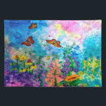 "Butterfly Garden Cloth Placemat<br><div class=""desc"">My original water color painting printed on Cloth Placemats featuring monarch butterflies fluttering around cone flowers,  purple heather,  a sunflower,  and other wildflowers.</div>"