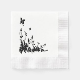 Butterfly Garden Coined Cocktail Napkin