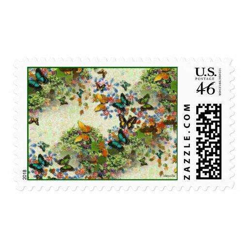 BUTTERFLY GARDEN Design Postage Stamp Zazzle