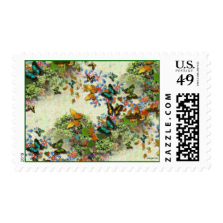 BUTTERFLY GARDEN Design Postage Stamp
