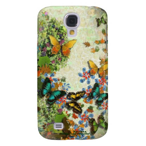 BUTTERFLY GARDEN Floral Design Galaxy S4 Cases