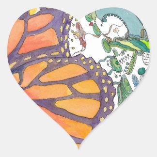 Butterfly Garden Heart Sticker