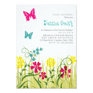 Butterfly Garden in Bright Colors 5x7 Paper Invitation Card