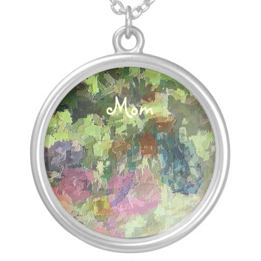 BUTTERFLY GARDEN NL8 Abstract Floral Design Necklace