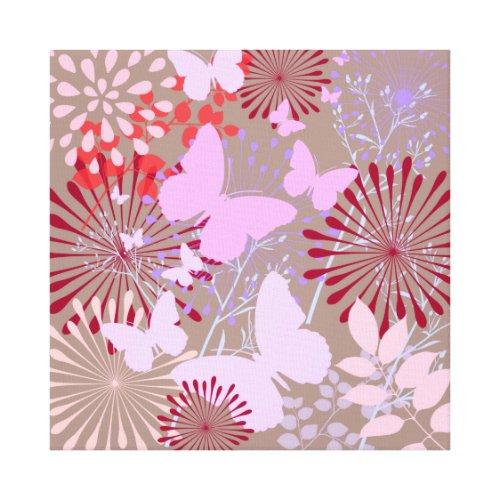 Butterfly Garden Spring Flower Design Canvas Print