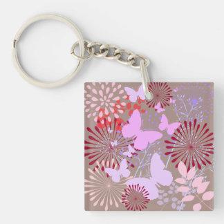 Butterfly Garden Spring Flower Design Keychain