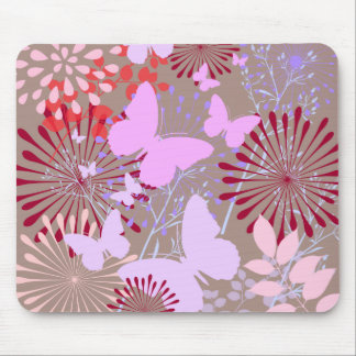 Butterfly Garden Spring Flower Design Mouse Pad