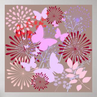 Butterfly Garden Spring Flower Design Poster