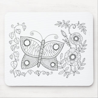 Butterfly Garden Two Line Art Design Mouse Pad