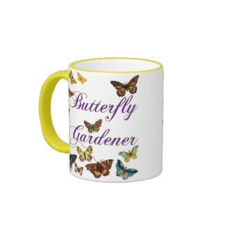 Butterfly Gardener Saying Ringer Coffee Mug