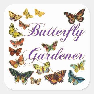 Butterfly Gardener Saying Square Sticker