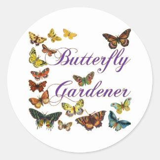 Butterfly Gardener Saying Sticker Round Sticker